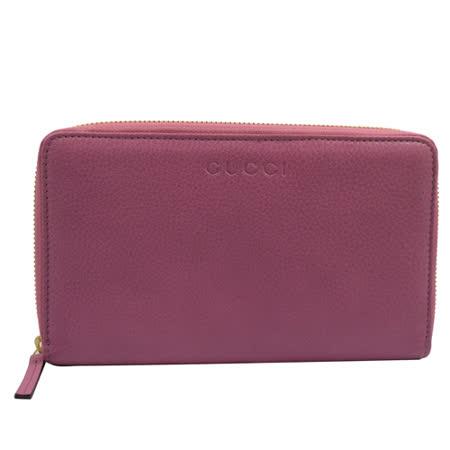 GUCCI 質感全皮革壓紋護照多卡拉鍊長夾.粉紫