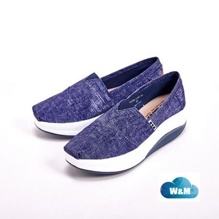 W&M BOUNCE系列 牛仔花紋PU 休閒女鞋-藍(另有粉)