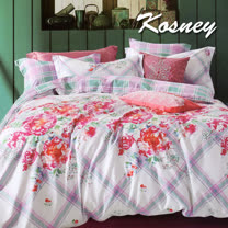 《KOSNEY  戀花引序》特大精梳棉四件式兩用被床包組