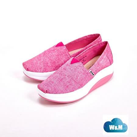 W&M BOUNCE系列 牛仔花紋PU 休閒女鞋-粉(另有藍)