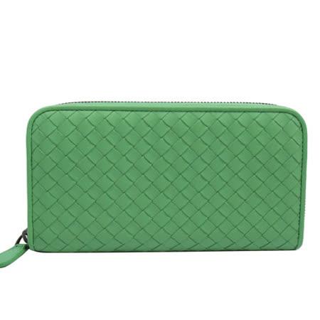 BOTTEGA VENETA 純手工小羊皮編織拉鍊長夾.綠