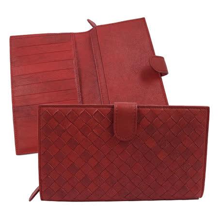 BOTTEGA VENETA 純手工編織仿舊皮革扣式零錢中長夾.暗紅