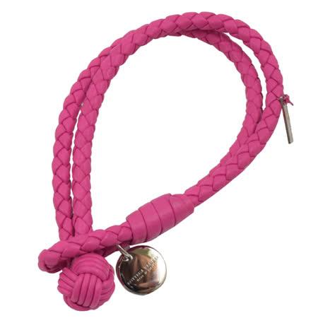 BOTTEGA VENETA 純手工編織小羊皮LOGO吊飾手環.桃紅