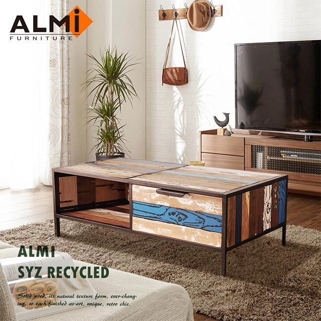 ~ALMI~SYZ RECYCLED~ 2 DRAWERS 雙抽咖啡桌