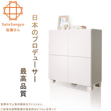 【Sato】FREA川久四門收納櫃‧幅72cm(樸素白)