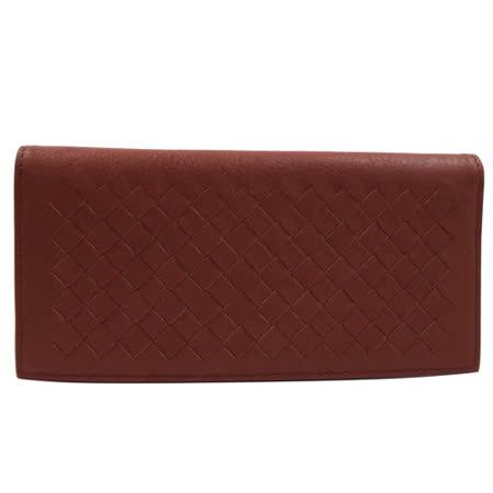BOTTEGA VENETA 純手工小羊皮編織對折簡式長夾.紅咖