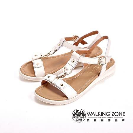WALKING ZONE 金屬環扣式低跟平底涼鞋 女鞋-米(另有藍)