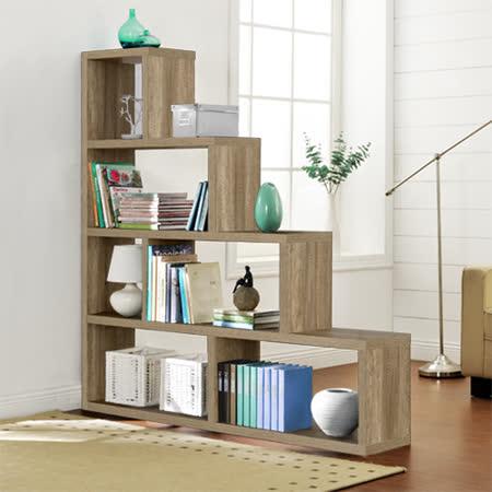 【Yomei】L型多層展示櫃/書櫃/收納櫃/隔間櫃(深橡色)