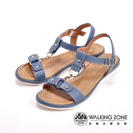 WALKING ZONE 金屬環扣式低跟平底涼鞋 女鞋-藍(另有米)