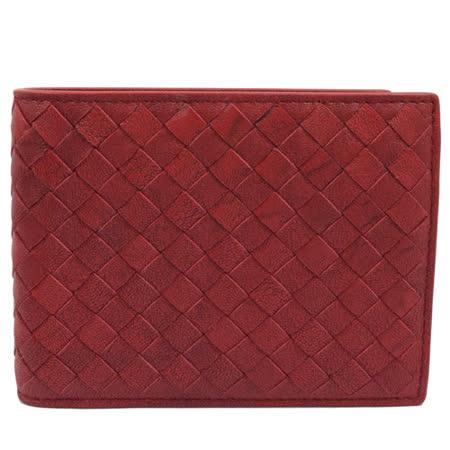 BOTTEGA VENETA 純手工編織仿舊皮革信用卡零錢中短夾.紅