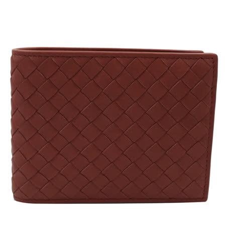 BOTTEGA VENETA 純手工編織仿舊皮革信用卡零錢中短夾.紅咖