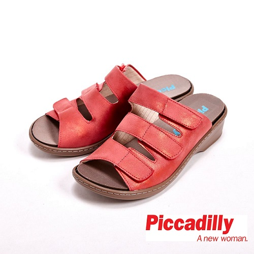 Piccadilly 潮流三横帶 專屬替換鞋墊 女鞋~紅^( 米^)