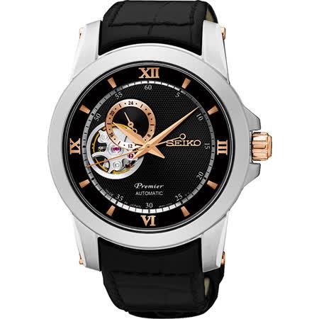 【好物推薦】gohappySEIKO Premier 開芯鏤空視窗機械腕錶-黑/40mm 4R39-00P0C(SSA324J1)好嗎taiwan sogo