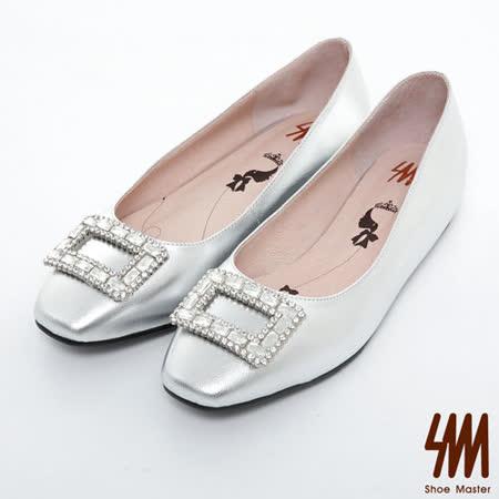 SM-台灣製真皮系列-閃亮寶石水鑽內增高跟鞋-銀色