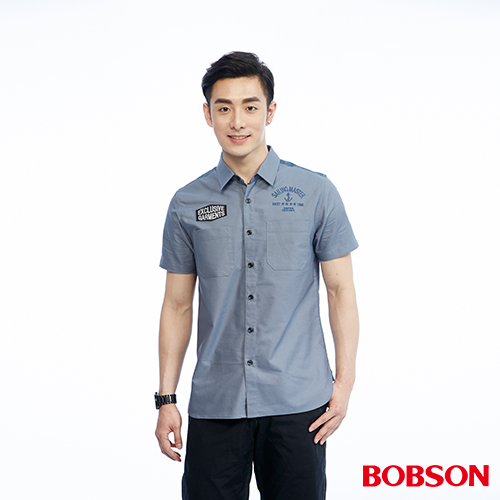 BOBSON 男款雙袋配色襯衫^(26004~59^)
