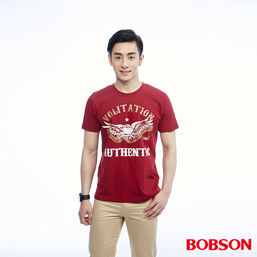 BOBSON 男款雙色印圖上衣^(26017~13^)