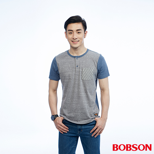 BOBSON 男款雙拼色上衣^(26022~83^)