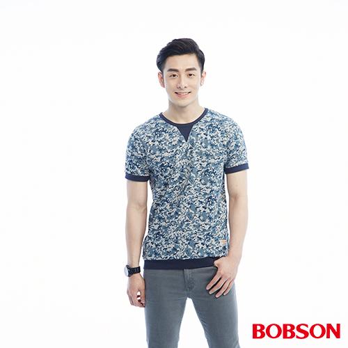 BOBSON 男款藍迷彩印花上衣^(26028~53^)