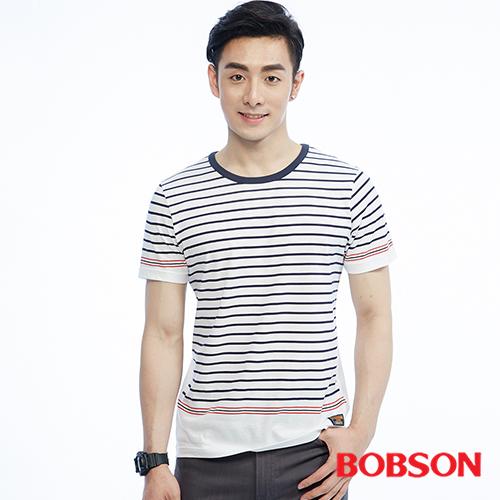 BOBSON 男款印條紋上衣^(26029~80^)