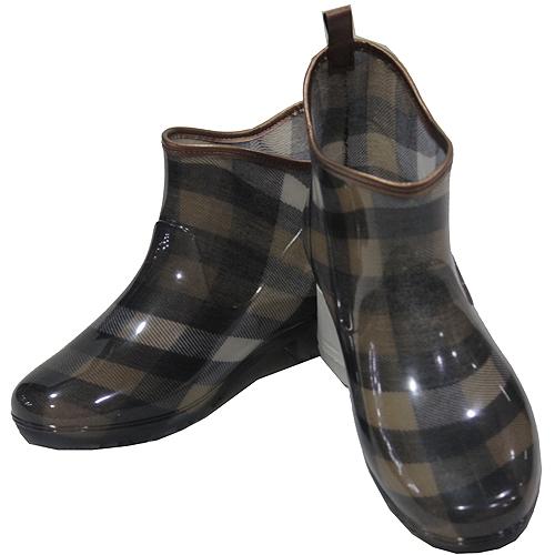 日本格紋半統雨鞋-咖