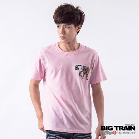 BIG TRAIN 雙豹赤青鬼印花TEE-男-粉色
