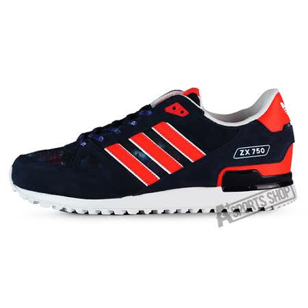 ADIDAS (男) 愛迪達 ZX 750 休閒鞋 深藍紅-AQ3183
