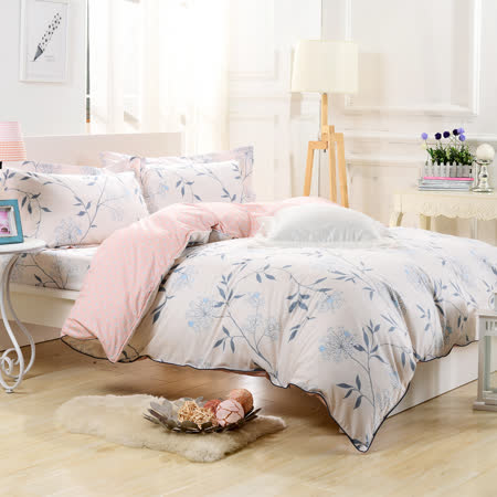 【鴻宇HongYew】純棉系列 ikea風格 SPRING-雙人四件式兩用被床包組