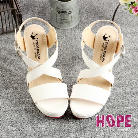 【HOPE】MIT一字交叉淑女高跟涼鞋-白【K122D702】