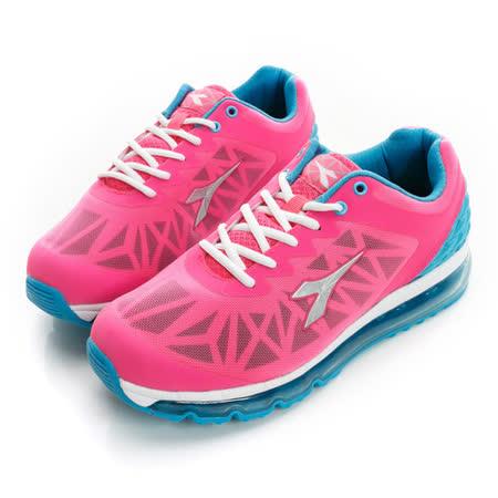 DIADORA (女) 氣墊慢跑鞋 桃紅藍DA5AWR2662