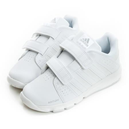 adidas (童) 輕量透氣運動鞋 白D65707