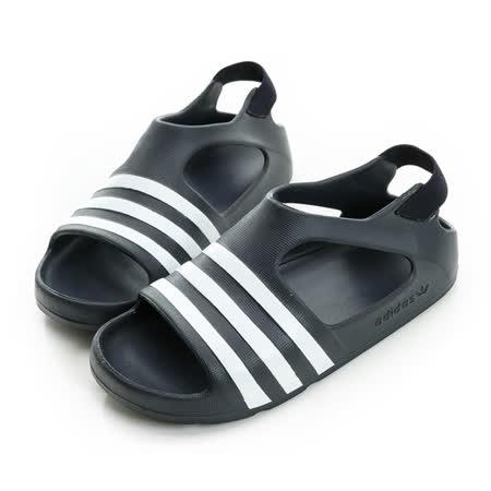 adidas (童) 涼鞋 黑白S74734