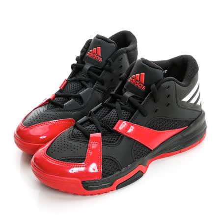 adidas (童) 高筒透氣籃球鞋 黑/紅AQ8504