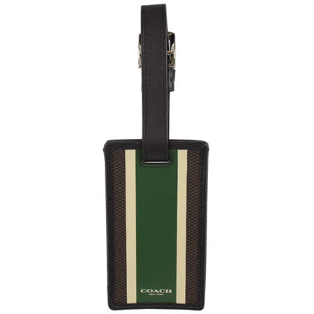COACH 經典LOGO條紋皮革行李名牌吊飾.黑/綠