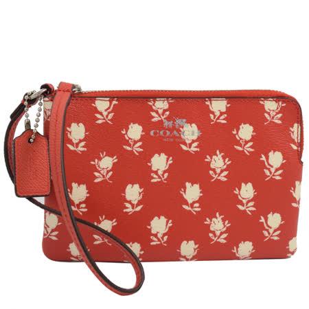 COACH 馬車LOGO防刮皮革花朵圖案零錢包/手拿包.橘紅