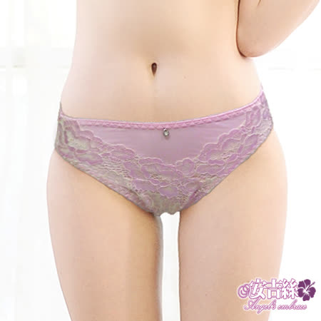 【安吉絲】視覺撞色蕾絲 竹炭低腰三角褲/M(粉色)