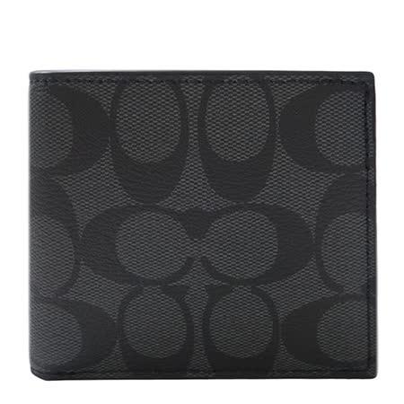 COACH  PVC LOGO對折短夾(黑色)