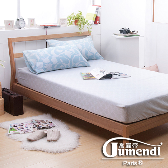 【法國Jumendi-戀戀芳馨.灰】台灣製活性柔絲絨加大三件式床包組