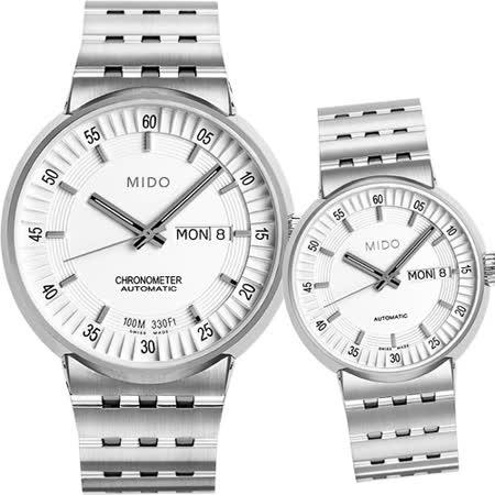MIDO All Dial 羅馬競技場機械對錶-銀/42+30mm M83404B111+M733041112