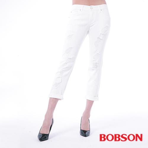 BOBSON 女款低腰男朋友白色破褲 ^(8134~80^)