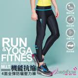 【BeautyFocus】台灣製男款3D彈性防曬抗縮運動壓力褲-5807黑底黑車線