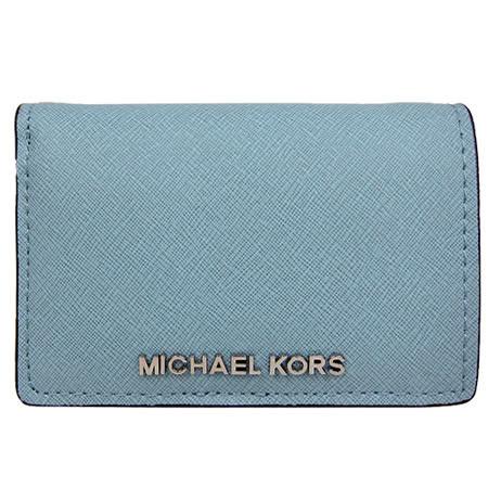 MICHAEL KORS 金屬LOGO防刮兩折短夾(灰藍)