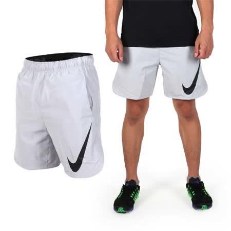 (男) NIKE 梭織短褲-運動褲 路跑 慢跑 健身 淺灰黑