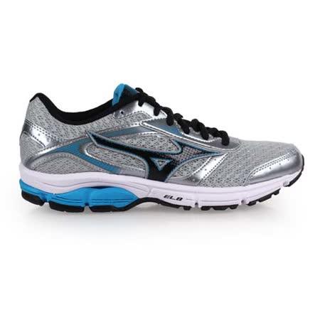 (女) MIZUNO WAVE IMPETUS 4慢跑鞋 - 路跑 美津濃 灰藍黑