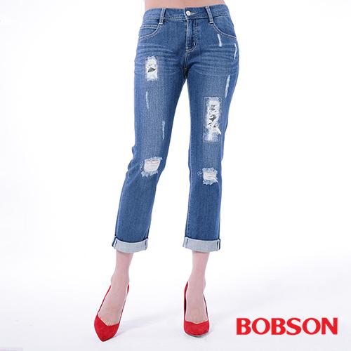 BOBSON 女款低腰男朋友補釘褲^(8136~53^)