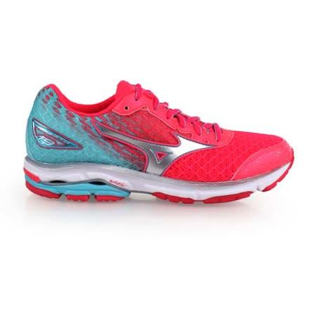 (女) MIZUNO WIDE WAVE RIDER 19 慢跑鞋 寬楦 螢光粉湖水綠