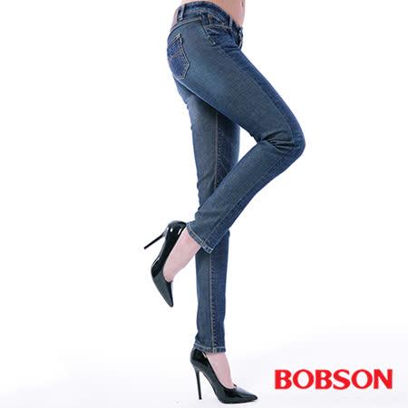 BOBSON  女款低腰異素材小直筒褲(8138-53)