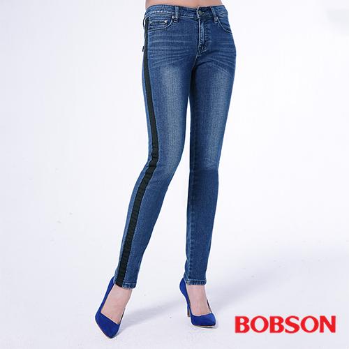 BOBSON 女款低腰配織條小直筒褲^(8143~53^)