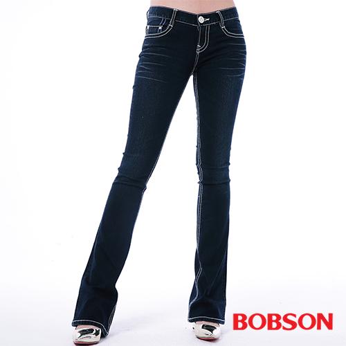 BOBSON 女款五彩鑽貼腿小喇叭褲^(9091~52^)