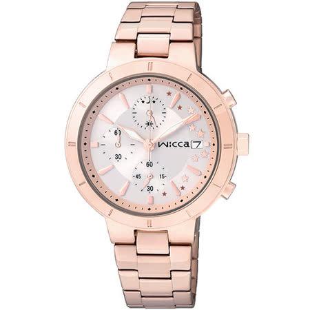 CITIZEN 星辰 WICCA 魔法星光三眼計時腕錶-玫瑰金/34mm/BM2-225-11