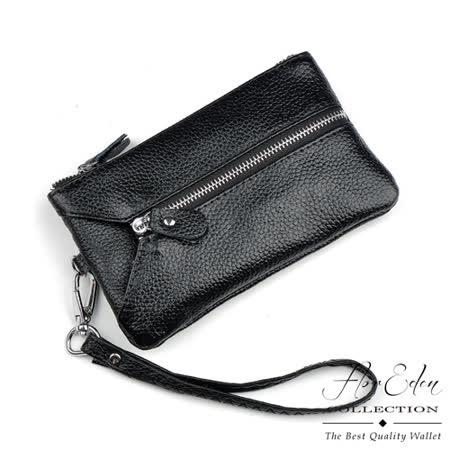 DF Flor Eden皮夾 - 優質牛皮款鑰匙包零錢包-黑色